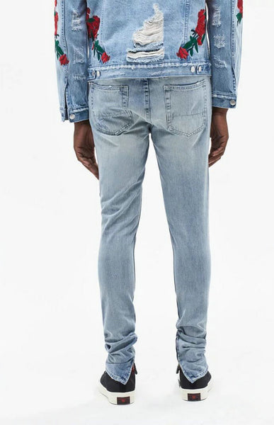 PARKER RIP AND REPAIR WASHED DENIM JEAN PANTS IN BLUE - boopdo