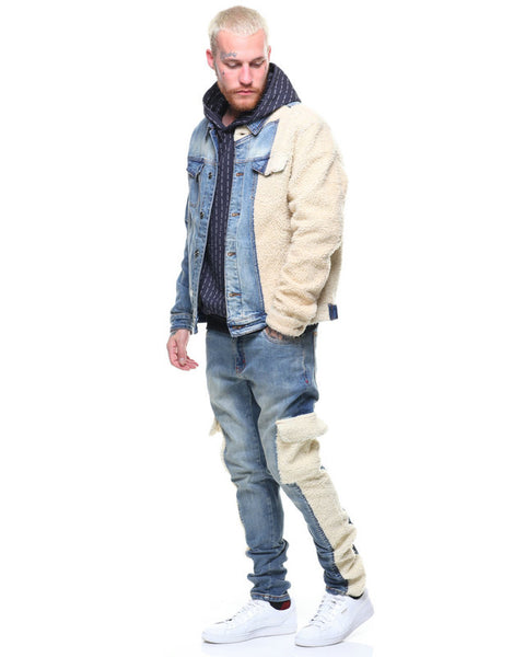 BOOPDO DETACHE LAMPREY SHERPA DENIM JACKET WITH COMPARTMENT POCKET IN BLUE