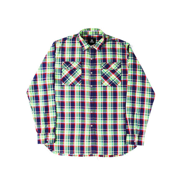 BOOPDO WEST RETRO SKATEBOARD PLAID LONG SLEEVE SHIRT - boopdo