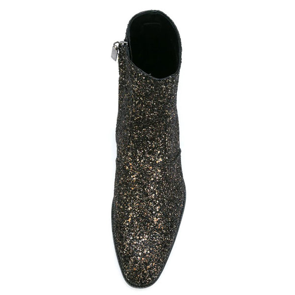CIROSIMON CATWALK TOE POINTED NIGHT CLUB CHELSEA BOOTS - boopdo