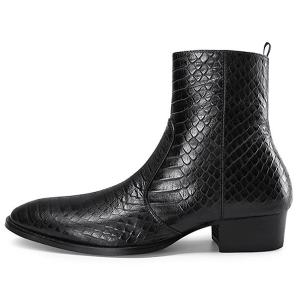 ROCKEX TOE POINTED DESIGN SNAKE LEATHER CHELSEA BOOTS - boopdo