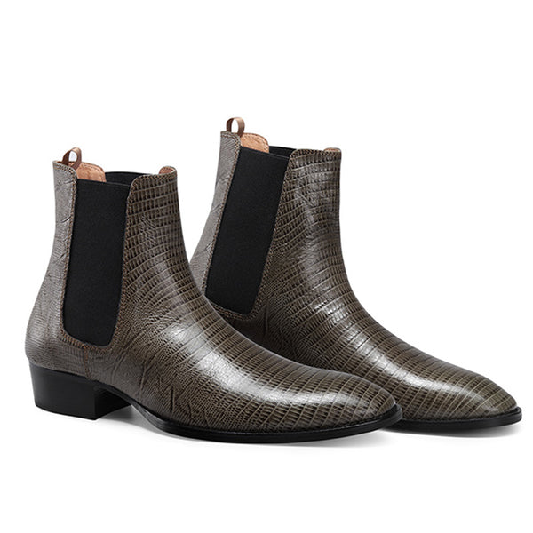 NADEMILIA LIZARD PRINT TOE POINTED WESTERN CHELSEA BOOTS - boopdo