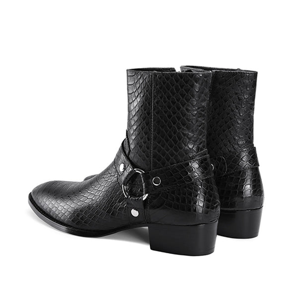 EUROPADIA SNAKESKIN TOE POINTED CHELSEA BOOTS