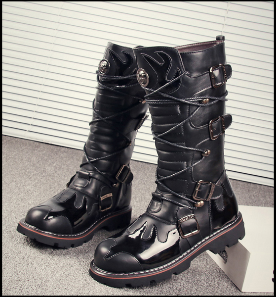 LUZIZA PUNK RAVE BUCKLED CASUAL HIGH BOOTS IN BLACK - boopdo