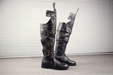 BUCKHEN BUCKLED SYLVAN CUBAN LONG BOOTS IN BLACK