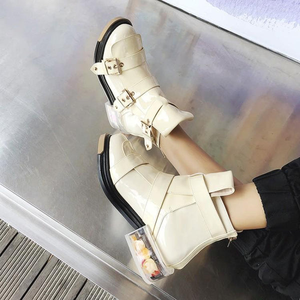 CHILL CHILLY BUCKLED TRANSPARENT THICK SOLED CASUAL SHOES