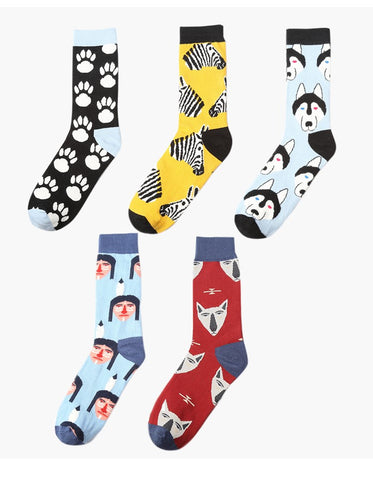 ACALEN FIVE PACK MULTI ANIMAL PRINT ALL OVER SOCKS
