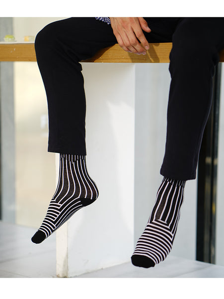 ACALEN ANKLE SOCKS WITH ABSTRACT STRIPE PATTERN FIVE PACK - boopdo