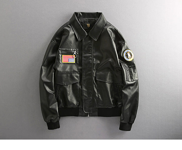 UNIQUE NAVY SEALS AIR FORCE PILOT G1 BADGE VELCRO BLACK JACKET - boopdo