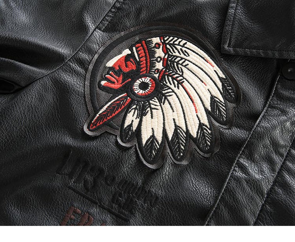 COMBAT AIR FORCE PILOT INDIAN REDSKIN EMBROIDERED FAUX BLACK LEATHER JACKET