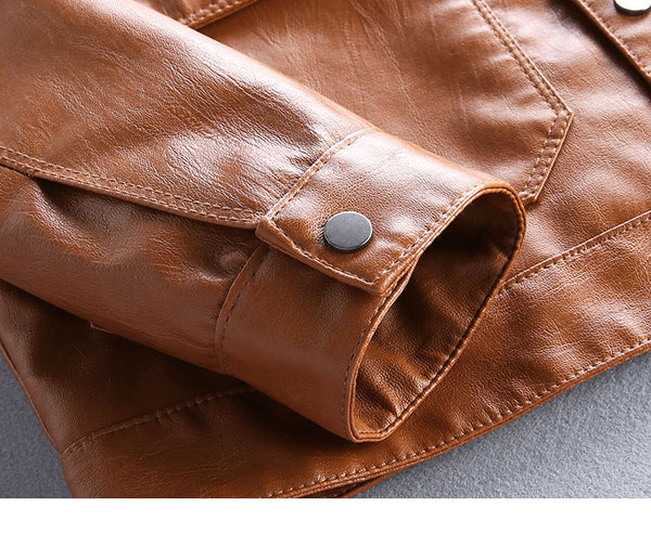 PATCH POCKET SLIM FAUX LEATHER BROWN JACKET - boopdo