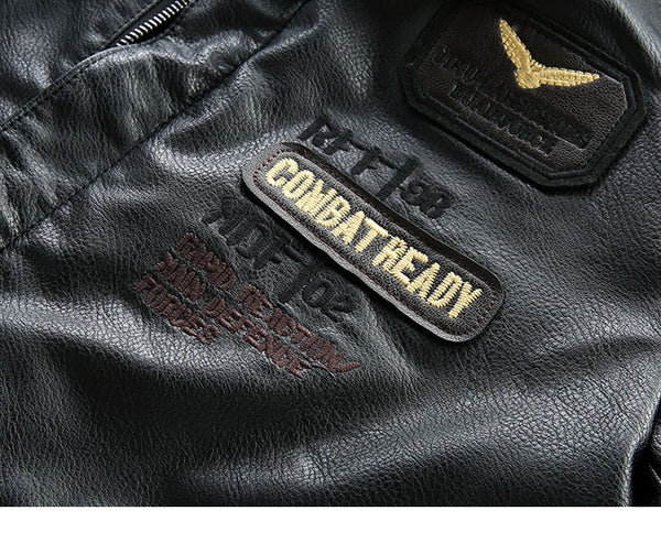 COMBAT AIR FORCE PILOT INDIAN REDSKIN EMBROIDERED FAUX BLACK LEATHER JACKET - boopdo