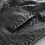 HARLEXY STAND COLLAR QUILTED STYLE FAUX PU LEATHER JACKET - boopdo