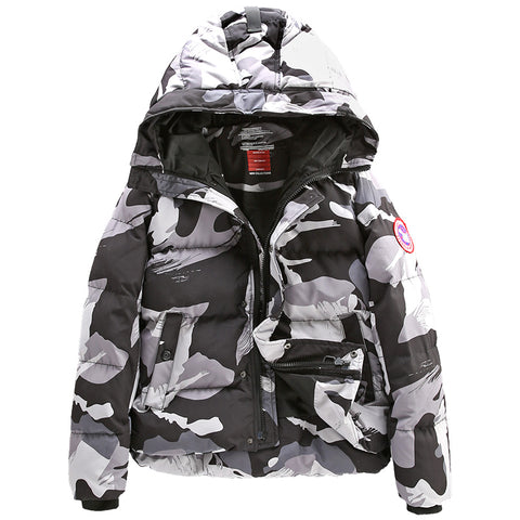 BASICS CAMOUFLAGE DESIGN THICK PADDED COTTON HOODIE JACKET