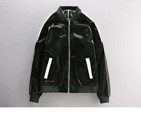 BRIGHT PU LEATHER JACKET WITH CONTRAST TIPPING
