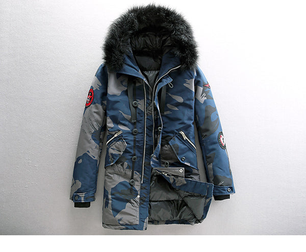 BAUX PULP FAUX FUR PUFFER JACKET WITH HOOD IN CAMO - boopdo