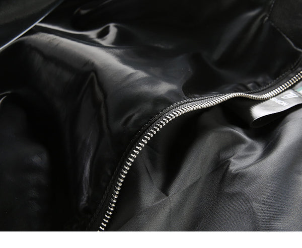 BRIGHT PU LEATHER JACKET WITH CONTRAST TIPPING - boopdo
