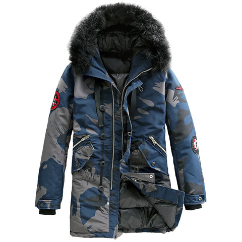 BAUX PULP FAUX FUR PUFFER JACKET WITH HOOD IN CAMO