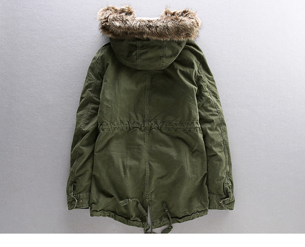FLUFF FAUX FUR BLEND HOODED GREEN JACKET - boopdo