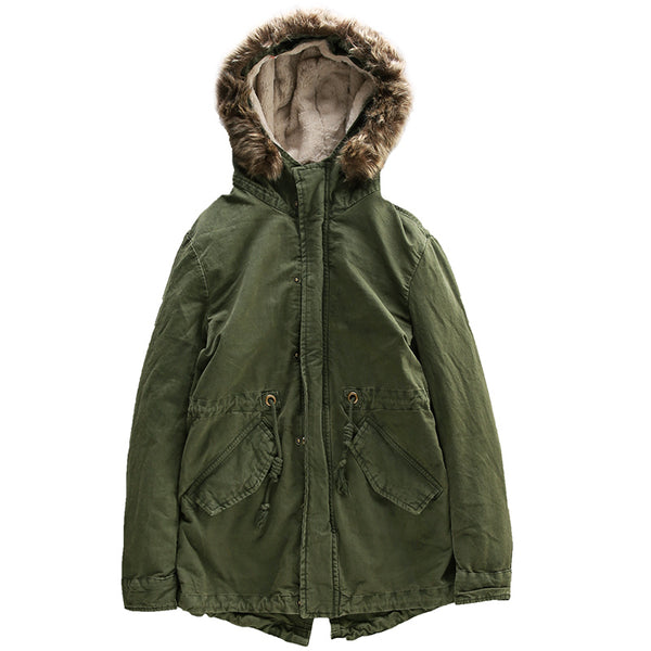 FLUFF FAUX FUR BLEND HOODED GREEN JACKET