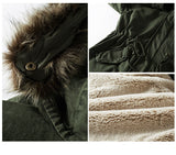 FLUFF LINER THICKEN UNIFORM MILITA COTTON GREEN HOODIE LONG JACKET