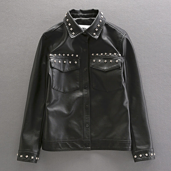 tuxap punk material craft rivet synthetic leather jacket in black