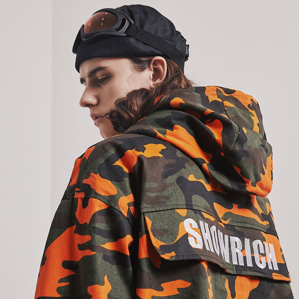 SHOW RICH MADE BY ABOW LIFE MULTI POCKET ORANGE CAMO WINDBREAKER