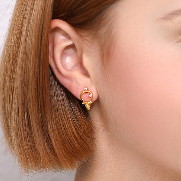 JELLY GIRL 18K GOLD ICE CREAM STUD EARRINGS WITH CRYSTAL - boopdo