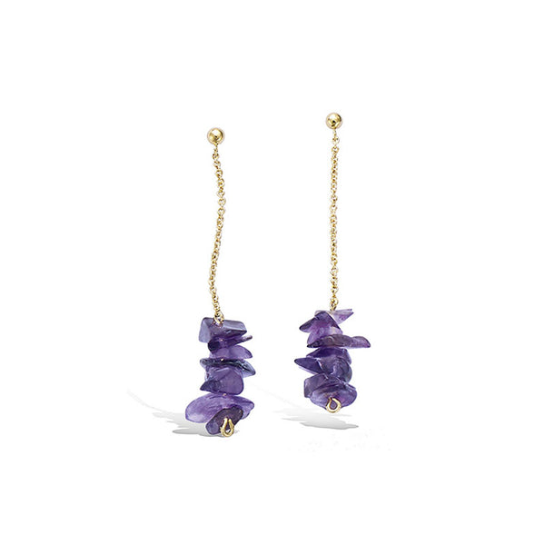 LITTLE JOYS EARRINGS IN DETAIL CHAIN AND PURPLE STONE - boopdo