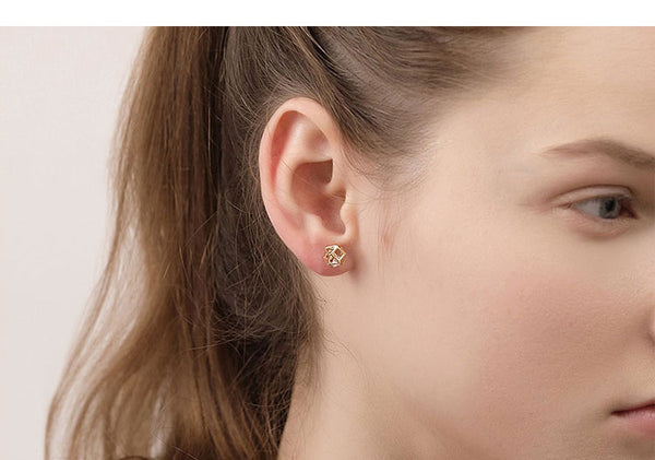 LITTLE JOYS 18K GOLD PLATED SWAROVSKI CRYSTAL STUD EARRINGS