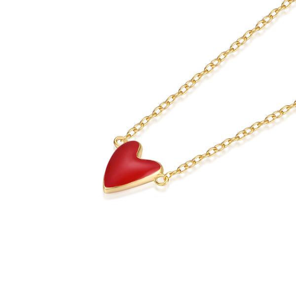 JELLY GIRL 18K GOLD TINY HEART PENDANT NECKLACE - boopdo