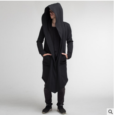 JOURNEZ CONTEMPORARY SHAWL LONG CARDIGAN COAT WITH HOODIE
