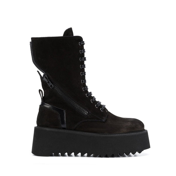 MONNA MARTA URBAN STYLE CHUNKY SOLE HIGH TOP CASUAL BOOTS IN BLACK - boopdo