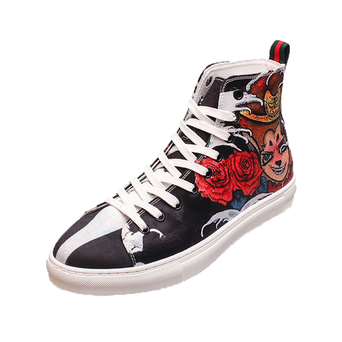 CHINOX HALL OF FAME WUKONG PRINT GAZELLE CANVAS SNEAKER IN BLACK