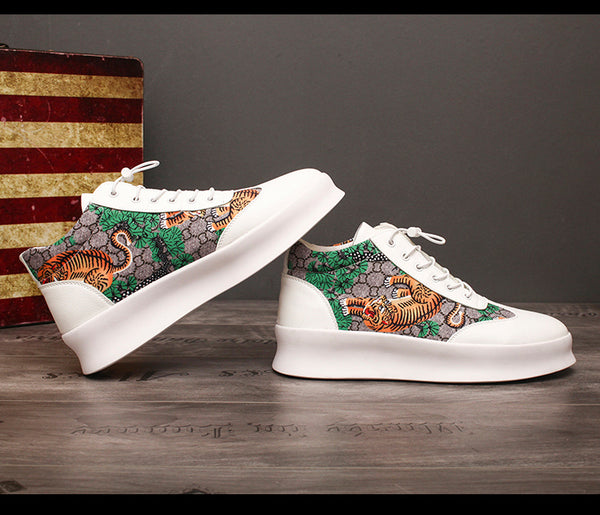 RAID WINKY VULC FLAT CHUNKY TIGER PRINT LEATHER SHOES IN WHITE - boopdo
