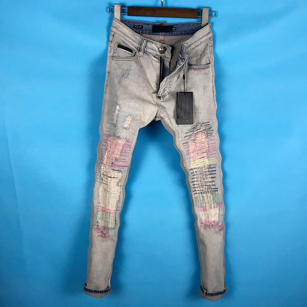 VANGUARD BOOPDO DESIGN RIPPED PATCH DENIM JEANS PANTS IN BLUE - boopdo