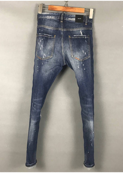 DSQ SPRAY PAINT RIPPED HOLE PATCH ELASTIC SLIM JEAN PANTS IN BLUE