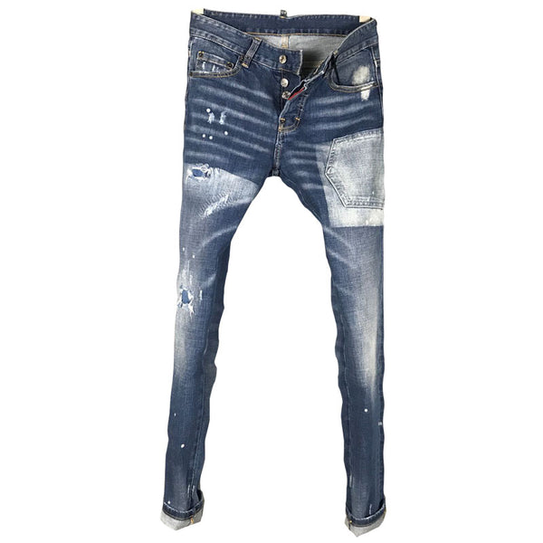 DSTWO PATCH RIPPED HOLE MOSAIC MULTI POCKET ELASTIC DENIM JEANS IN NAVY BLUE