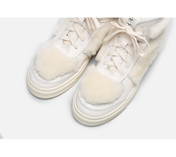 BELLALILY FAUX FUR DETAILED LEATHER TRAINERS IN WHITE - boopdo