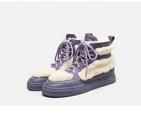 Bellalily faux fur detailed leather trainers in matte lavender