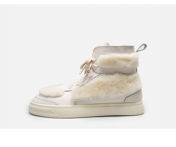 BELLALILY FAUX FUR DETAILED LEATHER TRAINERS IN WHITE