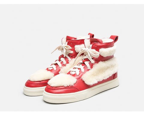 BELLALILY FAUX FUR DETAILED LEATHER TRAINERS IN RED