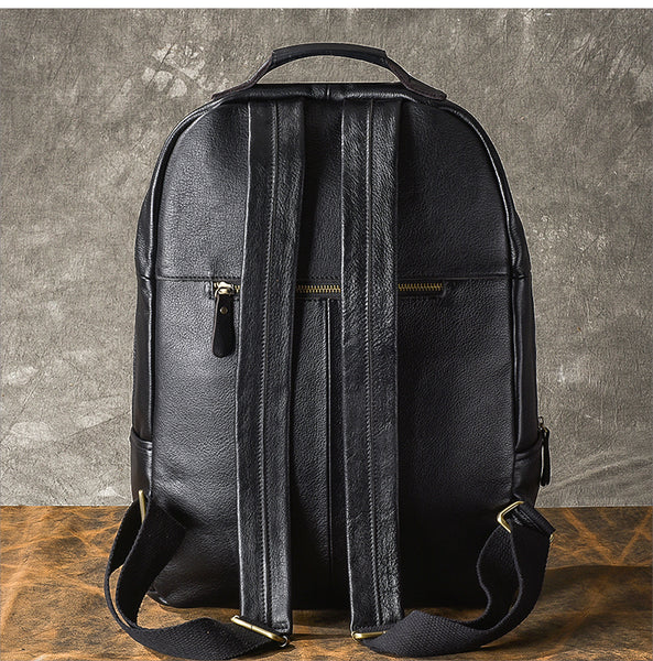 TWENTY FOUR STREET VINTAGE 15 INCH CLASSIC BLACK LEATHER BACKPACK - boopdo