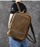 TWENTY FOUR STREET RETRO 14 INCH WATERPROOF TRAVEL LEATHER BACKPACK IN BROWN - boopdo