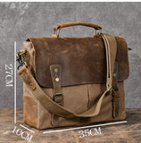 TWENTY FOUR STREET 14 INCHES BRITISH DESIGN CANVAS LEATHER MESSENGER BAG - boopdo