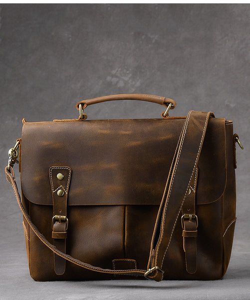 TWENTY FOUR STREET CROSS BODY MESSENGER LEATHER BRIEFCASE - boopdo