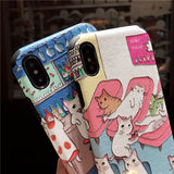 NEKO CATTISH ENJOY THE LIFE PRINT IPHONE CASES IN PINK BLUE COLOR - boopdo