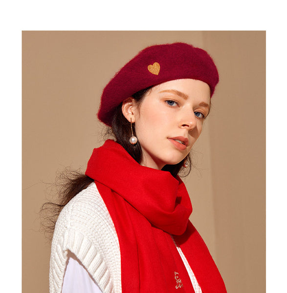 SHES HEART EMBELLISHED WOOL BERET SFH9219163 RED GREY BLACK - boopdo