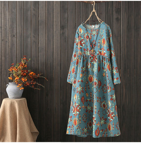 AUTUMN VINTAGE INSPIRED LONG SLEEVE MIDI DRESS IN SCARF PRINT