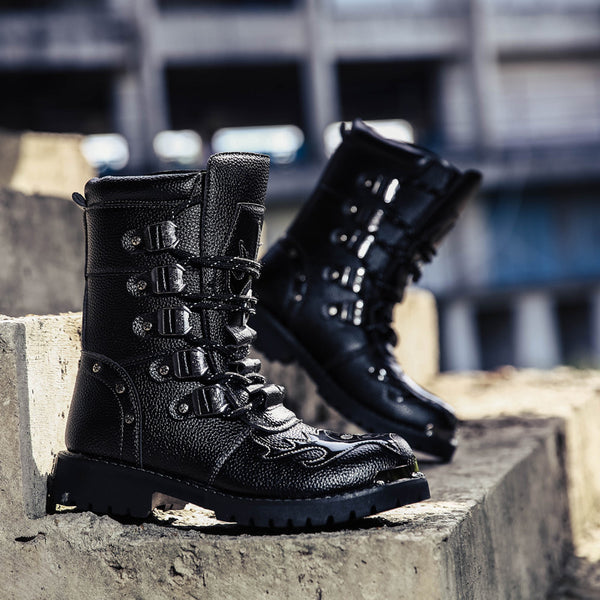THE FEAST OF NOSTALGIA AIR FORCE PLUS VELVET LEATHER BLACK UNISEX BOOTS